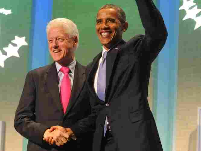 President Barack Obama and former President Bill Clinton shake hands at the Clinton Global Initiative on Sept. 21, 2011 in New York City. The three-day forum brought together world leaders and other dignitaries to discuss worldwide problems and potential solutions.