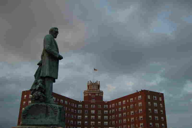 A statue of James A. Bradley presides over the Berkeley Hotel.