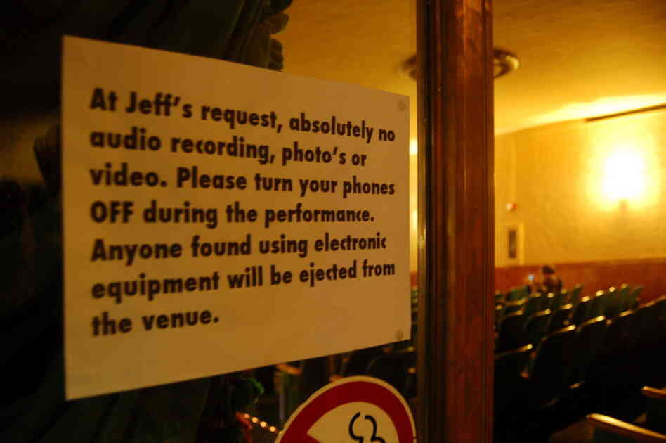 We weren't allowed to take photos of Jeff Mangum, so we took a photo of a piece of paper that said we couldn't take photos of Jeff Mangum.