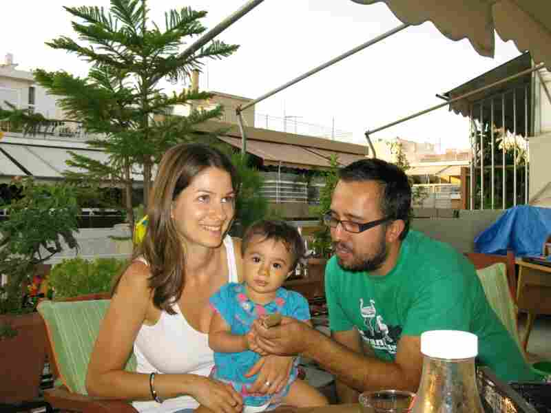 Stella Kasdagli, 30, and her husband Alexandros Karamalikis, 35, are trying to make ends meet. Karamalikis lost his job and and is now a stay-at-home father, raising their 13-month-old daughter