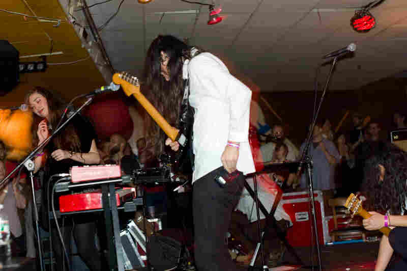 Cults opened the ATP festival at Asbury Lanes with a set that ended in thunderously loud noise-pop.