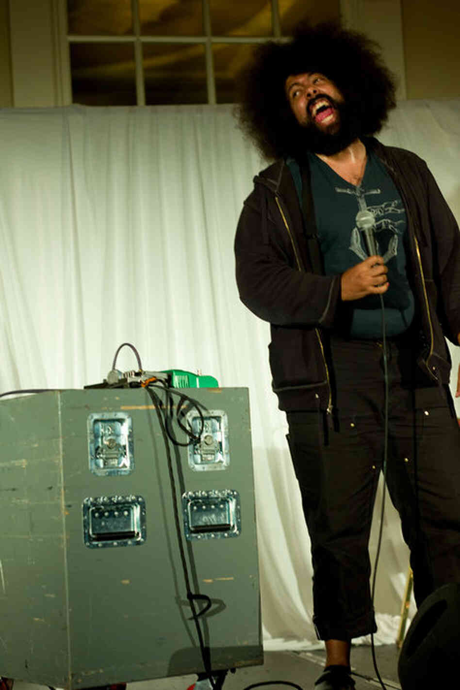 Reggie Watts improvised wordless musical impressions of soul and French music between stream-of-consciousness ramblings at the Berkeley Hotel on Friday night.