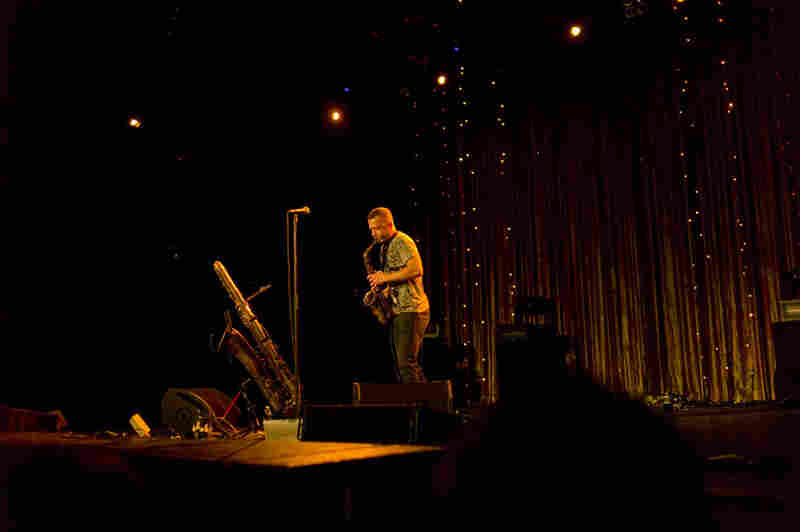 Saxophonist Colin Stetson took full advantage of the Paramount Theatre's gorgeous sound system on Saturday afternoon, especially when he picked up that honker of a bass sax.