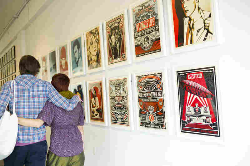 Street artist Shepard Fairey had his album-cover-inspired works on display.