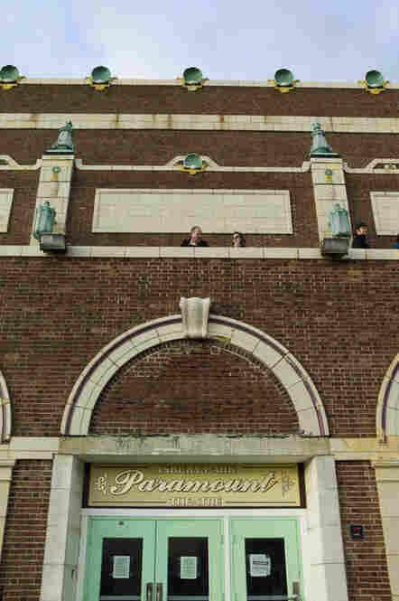 Taking a break atop the Paramount Theatre.