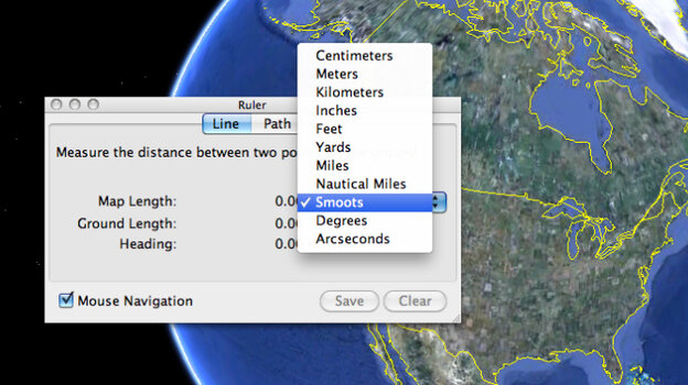 A smoot calculator in Google Earth.