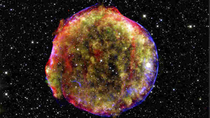 Remnants of Tycho's Supernova, seen in an X-ray/infrared composite image. The supernova was observed by Tycho Brahe and other skywatchers in 1572.