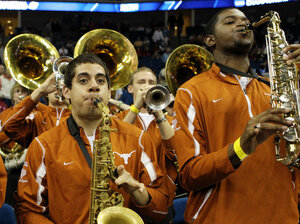 The Texas Longhorns band performs during a basketball game against the Oakland Golden Grizzlies on March 18. A challenge to the admissions policy at University of Texas, Austin, contends that the school does not need to consider race to achieve a diverse student body.