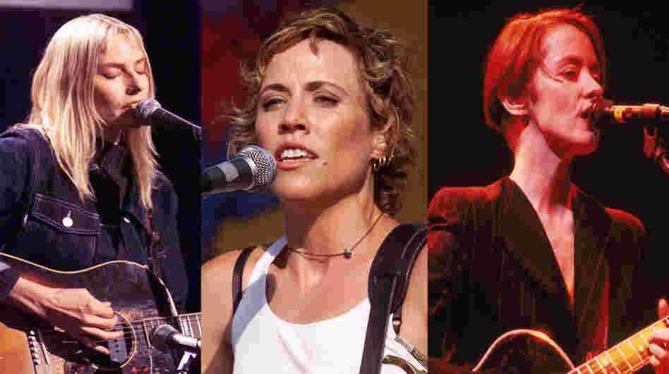 Left to right: Aimee Mann, Sheryl Crow, Suzanne Vega.
