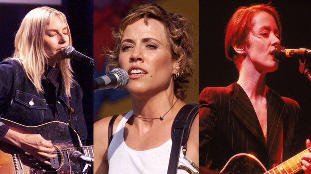 Left to right: Aimee Mann, Sheryl Crow, Suzanne Vega. (ImageDirect/Getty Images/Hulton Archive)