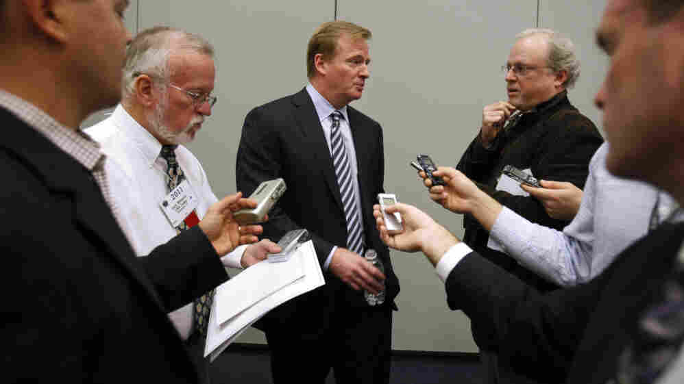 NFL Commissioner Roger Goodell answers questions from the media after speaking about concussions Monday at the Congress of Neurological Surgeons in Washington, D.C.