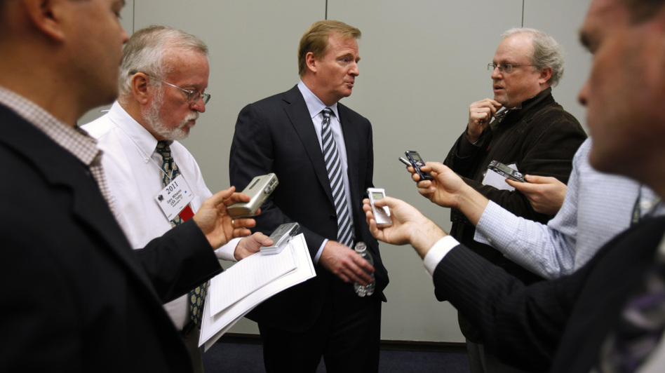 <p>NFL Commissioner Roger Goodell answers questions from the media after speaking about concussions Monday at the Congress of Neurological Surgeons in Washington, D.C. </p>