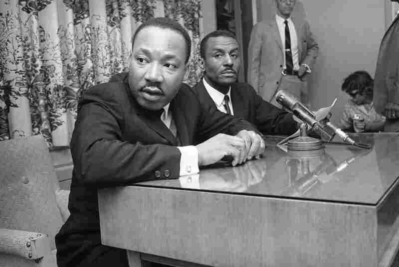 At a news conference in 1963, the Rev. Martin Luther King Jr. and Shuttlesworth tell the media that massive demonstrations will continue in Birmingham.