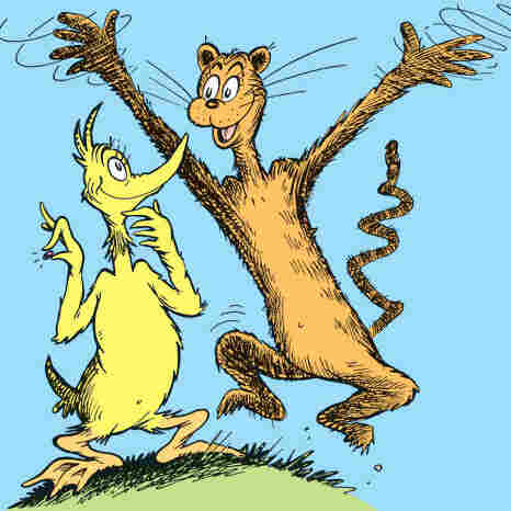 The young duck McKluck and his friend the cat discuss what to do with their magical wish-granting Bippolo Seed in Dr. Seuss's story, The Bippolo Seed.