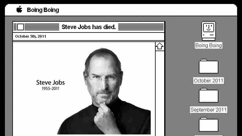 A screengrab shows the Boing Boing website, restyled to resemble one of an early Mac operating system in honor of late Apple co-founder Steve Jobs.