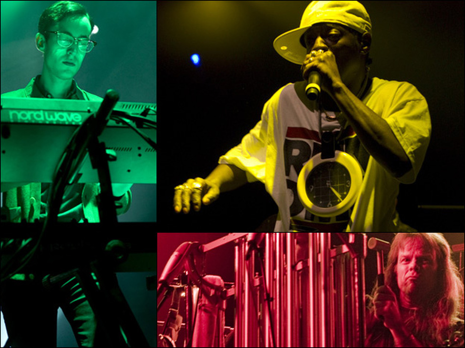<p>The Horrors (clockwise from left), Public Enemy, and Swans, just a few of the artists featured at this year's All Tomorrow's Parties festival.</p>