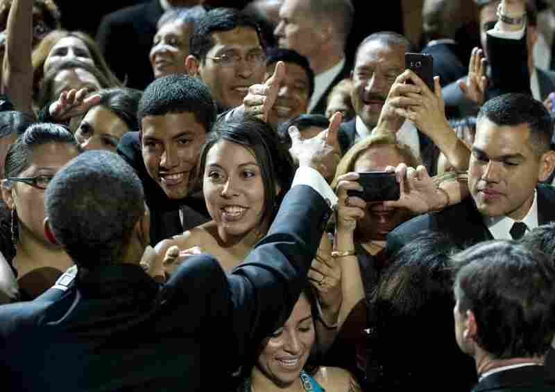 President Obama greets attendees after speaking during the Congressional Hispanic Caucus Institute's 34th Annual Awards Gala in Washington last month. The administration has been taking steps to win back the support of Latino voters.