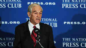 Republican presidential candidate Rep. Ron Paul of Texas at the National Press Club in Washington today.