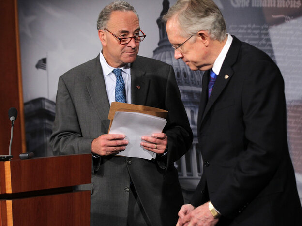 Left to right: Sen. Charles Schumer (D-N.Y.) and Senate Majority Leader Harry Reid (D-Nev.) at a news conference on Capitol Hill today.