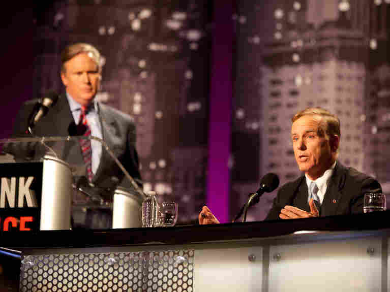 "Howard Dean argues against the motion ""Grandma's Benefits Imperil Junior's Future"" during an Intelligence Squared U.S. debate on Oct. 4."