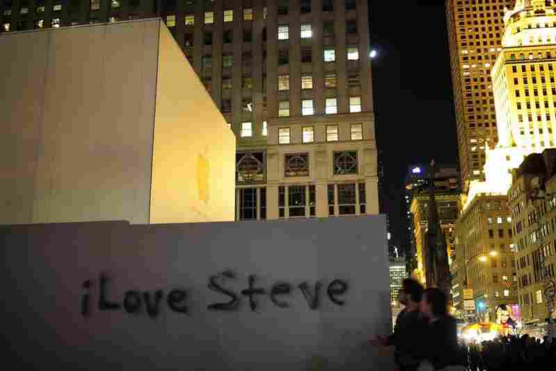 Graffiti pays homage to Jobs outside Apple's flagship store in New York City.