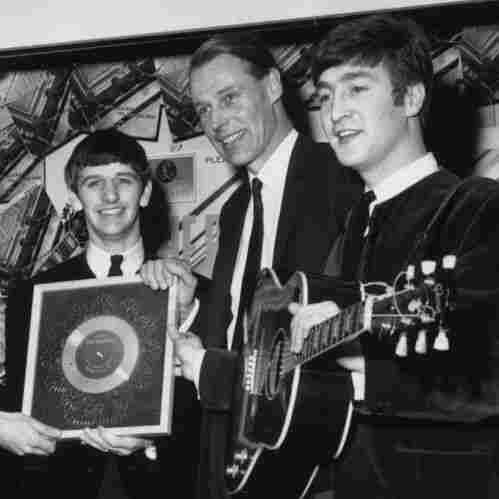 The Beatles, left to right: Paul McCartney, George Harrison, Ringo Starr, producer George Martin, John Lennon.