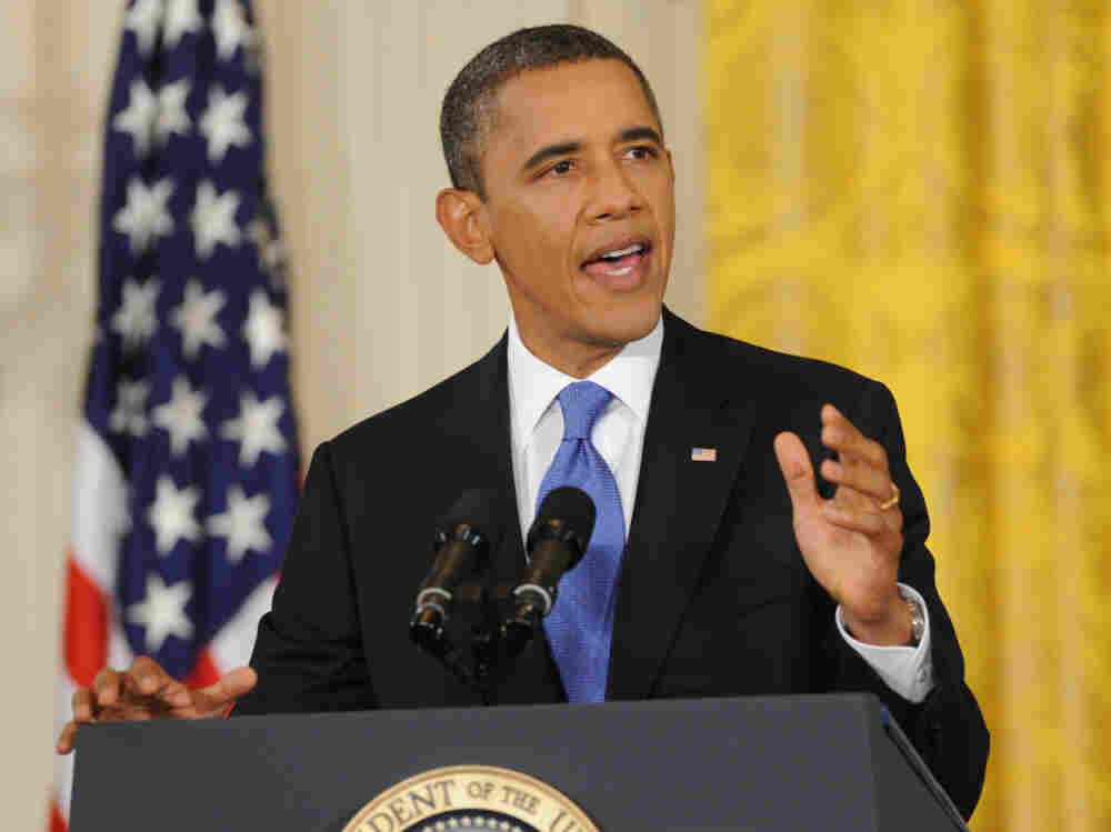 President Obama speaks during a press conference in the East Room of the White House in Washington, D.C.