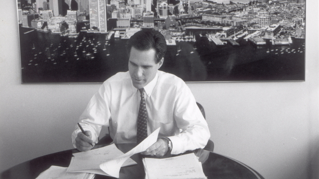 Mitt Romney, shown in 1993, is the former CEO of Bain & Co. In the 1980s, he started an investment fund called Bain Capital. His supporters say that's where he learned to solve big problems, create jobs and expand companies. His opponents say he made money by shutting down factories, occasionally driving companies into bankruptcy.  (Boston Globe via Getty Images)