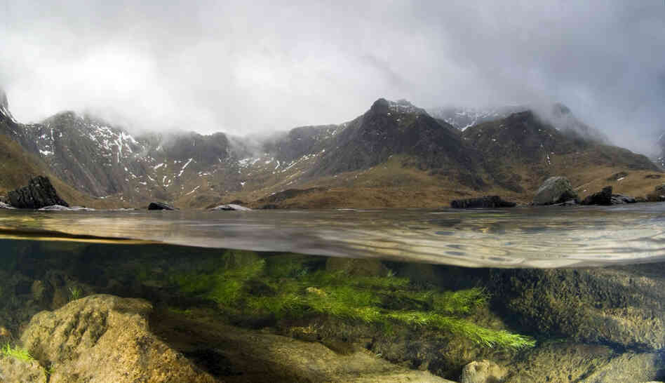 A split-level image of a lake in the mountains of Snowdonia, Wales, showing the hab