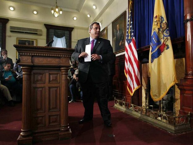 New Jersey Gov. Chris Christie turns to leave a news conference at the Statehouse in Trenton on Tuesday after he announced that he will not run for president in 2012.