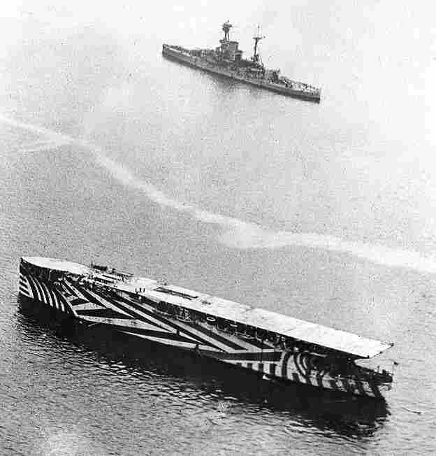 HMS Argus painted in dazzle camouflage in 1918.