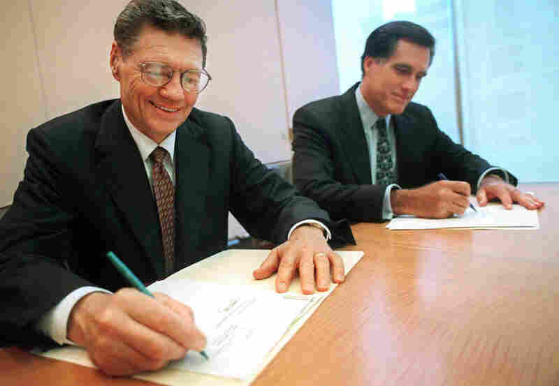 "In 1998, Domino's Pizza founder and Chairman Thomas Monaghan and Mitt Romney, then-managing director of Bain Capital, sign an agreement for Monaghan to sell a ""significant portion"" of his stake in the company to Bain. With Romney at the helm, Bain Capital helped launch or reshape hundreds of companies, including Staples and Domino's Pizza."