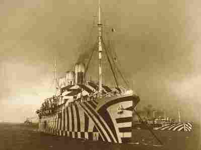 """WWI ship, SS Empress of Russia, painted in """"dazzle"""" camouflage markings."""