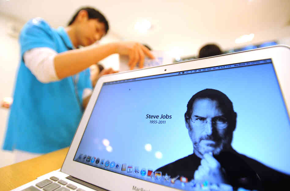 A tribute to Apple co-founder Steve Jobs on a MacBook at an Apple Store in Seoul, South Korea, Oct. 6, 2011.