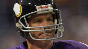 Brett Favre, seen here looking bummed in 2010, is one of the many sports figures taking a drubbing in the new sports book from the editors of The Onion.