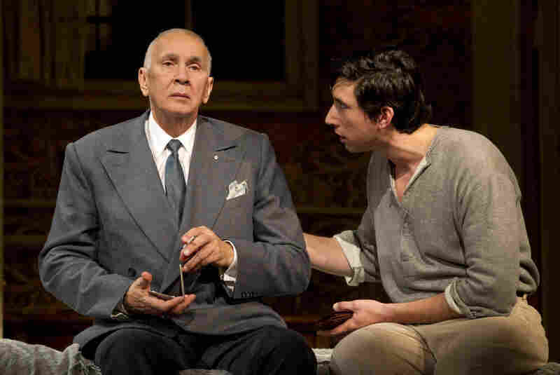 'Man' Of Some Importance: Actor Frank Langella (left, with Adam Driver) anchors the Roundabout Theatre Company's Man and Boy, about a highflying financier whose empire hangs by a thread.