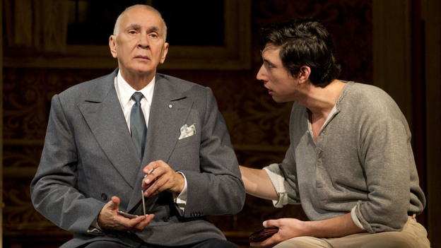 'Man' Of Some Importance: Actor Frank Langella (left, with Adam Driver) anchors the Roundabout Theatre Company's Man and Boy, about a highflying financier whose empire hangs by a thread. (Joan Marcus)