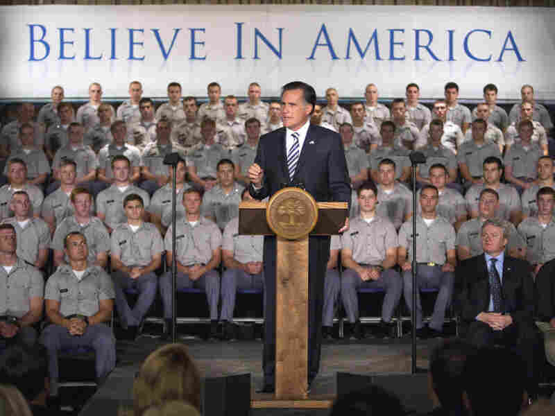 Republican presidential hopeful Mitt Romney speaks to Citadel cadets and supporters on campus Friday in Charleston, S.C. The former Massachusetts governor, known more for his business acumen than his foreign-policy experience, sought to show he has what it takes to be commander in chief.