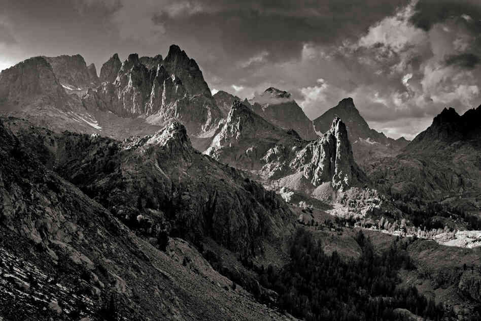 Rocky spires known as the Minarets rise above 12,000 feet in the Ansel Adams Wilderness.