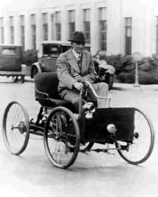 Henry Ford:  Brought automobiles to the masses through his Ford Motor Co. and pioneered the use of assembly-line manufacturing. In this 1927 photo, Ford drives his company's first vehicle, the Quadricycle.