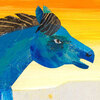 An illustration from Eric Carle's The Artist Who Painted a Blue Horse.