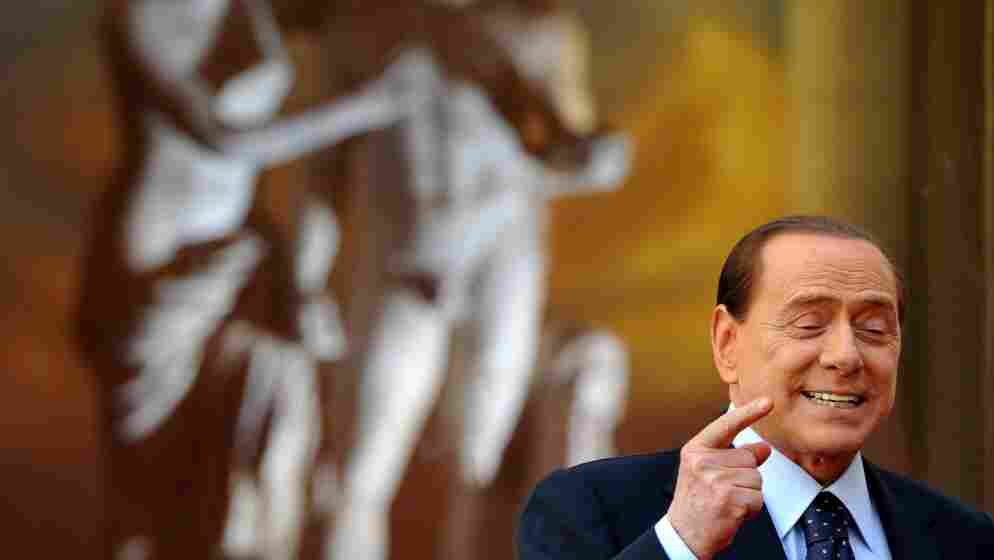 Italy's Prime Minister Silvio Berlusconi, seen here in a file photo, has seen his approval rating hit record lows. And now he's angered many in his own party by jokingly suggesting a lewd name change.