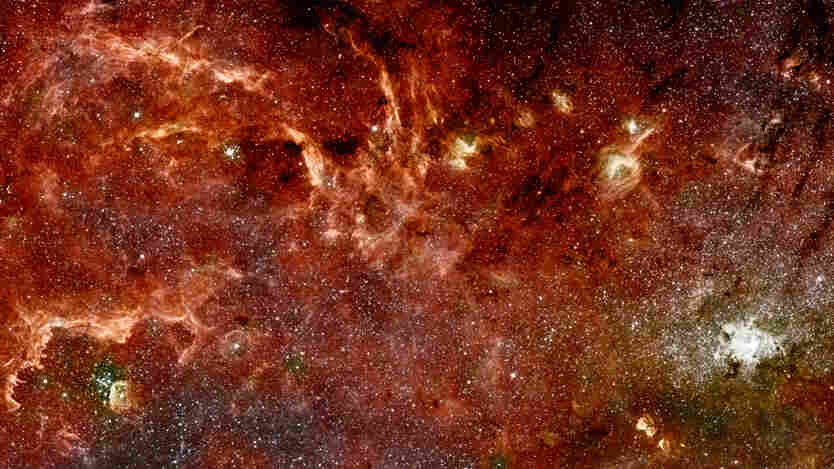 A composite color infrared image of the center of our Milky Way galaxy.