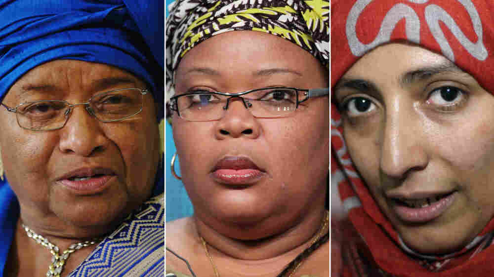 "The Nobel Peace Prize was awarded to three women on Friday. From left: President Ellen Johnson Sirleaf of Liberia, Liberian ""peace warrior"" Leymah Gbowee and Tawakkul Karman of Yemen."