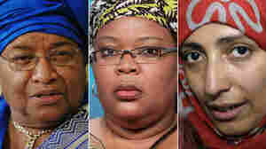 "Left to right: Nobel Peace Prize laureates President Ellen Johnson Sirleaf of Liberia, Liberian ""peace warrior"" Leymah Gbowee and  Tawakkul Karman of Yemen."