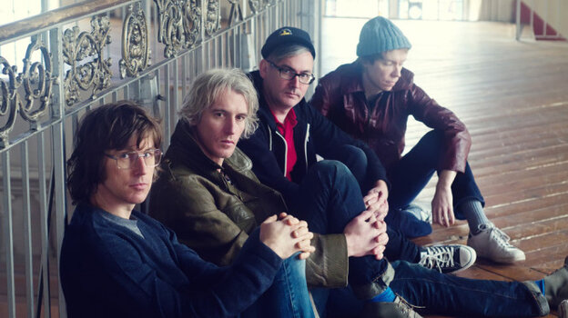 Sloan, in a recent press shot. The band is, from left to right, Chris Murphy (bass), Andrew Scott (drums), Patrick Pentland and Jay Ferguson (both guitarists).