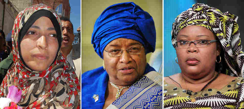 "Left to right: Nobel Peace Prize laureates Tawakkul Karman of Yemen, President Ellen Johnson Sirleaf of Liberia and Liberian ""peace warrior"" Leymah Gbowee."