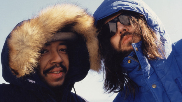 Russell Simmons and Rick Rubin as new business partners, in a mid-'80s candid shot from Def Jam Recordings: The First 25 Years of the Last Great Record Label. (Adler Archive)