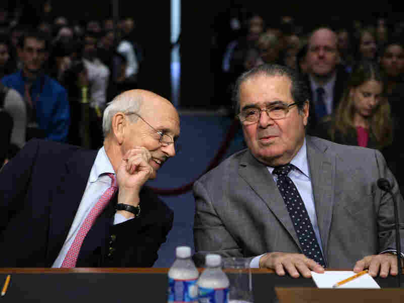 Supreme Court Justices Stephen Breyer (left) and Antonin Scalia testify during a hearing before the Senate Judiciary Committee Wednesday. The justices showed that while they are legal opposites, they are by no means opponents.
