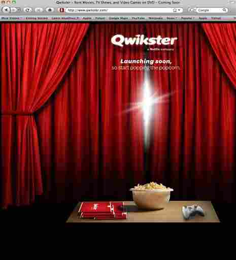 A screenshot shows Qwikster.com, the ill-fated DVD mailing service that Netflix discontinued Monday.